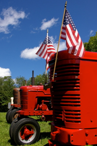 Tractor with flags